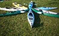 Kayaks for rent at Hollis Adventure Rentals